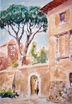 Toskanische Villa, Aquarell auf Karton, 35/28 cm, 1999