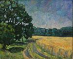 Sommerlandschaft, Feldmark Kallinchen, Öl auf Leinwand, 30/40 cm, 1988