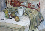 Stillleben mit weißem Kännchen, Öl auf Hartfaser, 40/60 cm, 1976