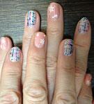 ネイビー&ピンク&ゴールドのツイード✨結晶を付けて、冬を演出しました〜🎶