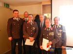 Ehrung für 40 Jahre Feuerwehrdienst an Franz Hager und für 50 Jahre Dienst an Peter Filzer.