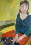 Frau mit Hund in Grün (70x100)