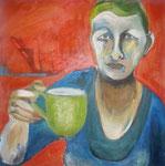 Frau mit grüner Tasse (90 x90 )