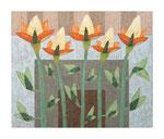Fünf Lichtblüten, 100x120 cm, Acryl,Papier,Leinwand, 2010