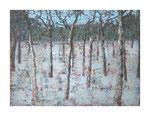 Winterwald II, 120x160 cm, Acryl,Papier,Leinwand, 2013