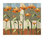Große Blütenfamilie, 100x120 cm, Acryl,Papier,Leinwand, 2011