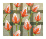Elf Blüten über Raster, 100x120 cm, Acryl,Papier,Leinwand, 2010