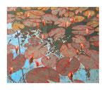 Nympheas II, 100x120 cm, Acryl,Papier,Leinwand, 2013