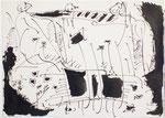 Beni Cohen-Or: o.T., Tuschezeichnung, 1976  Tusche auf Papier, 15 x 20 cm, auf Aquarellkarton mit Passe-partout 18 x 24 cm , Position 7