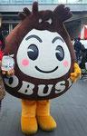 ふたこ座にて、長野県小布施町のマスコット「おぶせくりちゃん」が当会の紅茶持ってくれました。