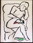 Femme Lisant, David Hockney, huile sur toile