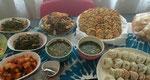 トルチャンチのお料理は手作りで、ワカメスープ、果物、お餅、肉、魚、ナムルなど沢山のメニューが並びました