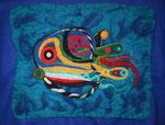 Blue Fisch (unmontiert  70 x 50 cm, montiert dann 90 x 70 cm )