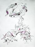 Der Erde preisgegeben – 65 x 50 cm - Tusche auf Bütten - 2013 (c) Zeichnung von Susanne Haun