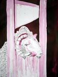Rollte ein Schafskopf auf die Erde - 65 x 50 cm - Tusche auf Bütten - 2013 (c) Zeichnung von Susanne Haun