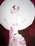 Ein Mensch, ein weiter Lichtkreis hinter ihm - 65 x 50 cm - Tusche auf Bütten - 2013 (c) Zeichnung von Susanne Haun