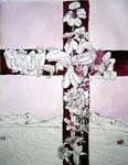 Flammendes Kreuz - 65 x 50 cm - Tusche auf Bütten - 2013 (c) Zeichnung von Susanne Haun