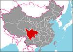 パンダがいいぱいいる臥竜自然保護区は四川省にあるよ(赤いところ)