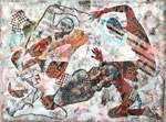 No 6, 140x180, Begegnung im Lockdown - Acryl  Mixedmedia auf Textil, 2021