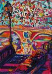 Le Pont Neuf de Toulouse, pastel gras et encre, 42X30 cm