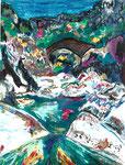 Le pont génois, pastel gras et encre, 42X30 cm