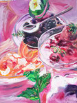 Desserts de fruits rouges, huile, 90X70 cm