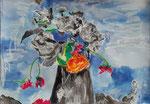 Bouquet d'été, pastel gras et encre de chine, 65X45 cm
