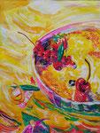Cerise en folie, pastel gras et encre, 65X45 cm