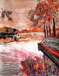 Toulouse en automne, pastel gras et encre de chine, 65X45 cm