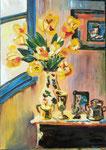Les tulipes jaunes, huile, 95X65 cm