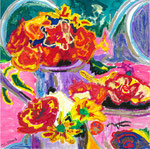 Arcs fleuris, pastel gras et encre, 20X20 cm