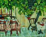 La terrasse, huile, 60X50 cm