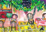 La terrasse, pastel gras et encre, 42X30 cm