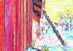 La cabane au fond du jardin, pastel gras et encre, 42X30 cm