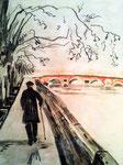 La route est longue, pastel gras et encre de chine, 65X45 cm