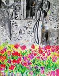Les tulipes de Giverny, pastel gras et encre de chine, 65X45 cm