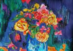 Bouquet d'été, pastel gras et encre, format 65X45 cm
