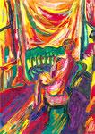 La comtesse aux pieds nus, pastel gras et encre, 42X30 cm