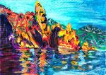 Piana, pastel gras et encre, 42X30 cm