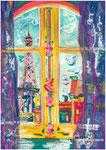 Avenue de la Bourdonnais, pastel gras et encre, 42X30 cm