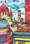 Toulouse et ses trois tours, pastel gras et encre, 42X30 cm