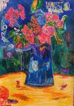 Table fleurie, pastel gras et encre, 65X45 cm