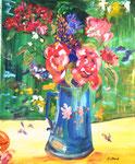 Table fleurie, huile, 60X50 cm