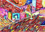 Toulouse sur les toits, pastel gras et encre, 42X30 cm