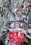 L'adieu aux platanes du canal du midi, pastel gras et encre de chine, 65X45 cm