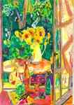 Fenêtre sur cour, pastel gras et encre, 42X30 cm
