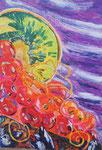 Les groseilles, pastel gras et encre, 65X45 cm