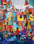 Napoli, pastel gras et encre, 65X45 cm