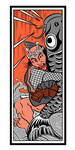 歌舞伎 鯉つかみ  イラスト 挿絵 役者絵 水 千社札