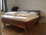 Bed, oak, custom cushion